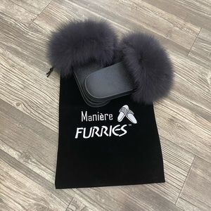 Charcoal furries slippers